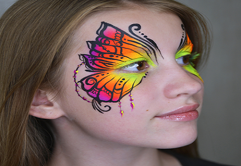 Butterfly Face Paint Tutorial | UV Neon Henna Style